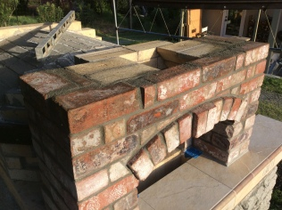 Chimney opening all bricked in and ready for the flue.